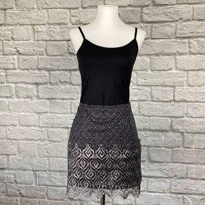 Free People Black & Silver Scallop Mini Skirt